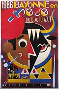 1980s Drawings - 1986 Original French Festival Poster - Fetes De Bayonne by Arnaud Saez