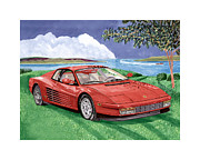 Watercolor Art Prints Posters - 1987 Ferrari Testarosa Poster by Jack Pumphrey