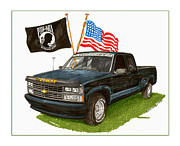 Mia And American Flag Tribute Pick Up Truck Posters - 1988 Chevrolet M I A Tribute Poster by Jack Pumphrey