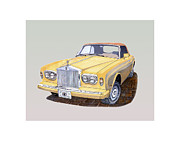 Two By Two Drawings Framed Prints - 1988 Rolls  Royces Corniche convertible  Framed Print by Jack Pumphrey