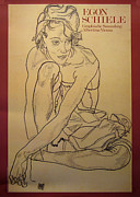 Egon Schiele Drawings - 1989 Austrian Exhibition Poster for Egon Schiele - Albertina Museum by Egon Schiele