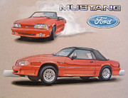 Drag Drawings - 1991 Ford Mustang by Paul Kuras
