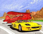 Plane Painting Originals - 1995 Ferrari F512m and 1935 WACO by Jack Pumphrey