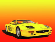Sports Cars Paintings - 1995 Yellow Ferrari F-512m Sunrise by Jack Pumphrey