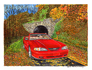 Ford Mustang Painting Framed Prints - 1996 Ford Mustang GT in fall colors Framed Print by Jack Pumphrey