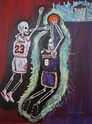 Kobe Paintings - 1997 Kobe vs Jordan by Visual  Renegade Art
