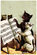 Music Themed Art Paintings - 19th c. Quartet of Singing Cats by Historic Image