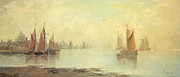 Impressionistic  On Canvas Paintings - 19th c Venetian Harbor Painting by Paul Ashby Antique Paintings