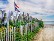 Sand Fences Prints - 19th Street Beach Entrance Print by Mark Miller