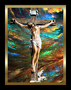 Jesus Cross Framed Prints Posters - 1Cross3Nails4Given 2 Poster by Karen Showell