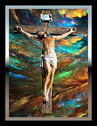 Jesus Cross Framed Prints Posters - 1Cross3Nails4Given Poster by Karen Showell