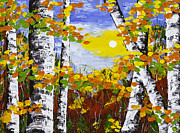 Handmade Trunk Posters -  White Birch Trees In Fall Abstract Painting Poster by Keith Webber Jr