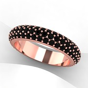 Platinum Jewelry - 14K Rose Gold Black Diamond Eternity Band by Eternity Collection