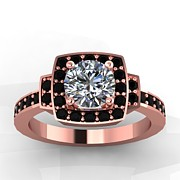 Platinum Jewelry - 14K Rose Gold Black Diamond Ring with Moissanite Center Stone by Eternity Collection