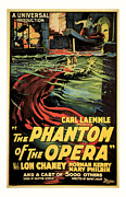 Scared Mixed Media Prints - 1925 The Phantom Of the Opera Vintage Movie Poster Print by Presented By American Classic Art