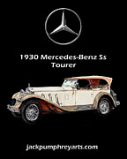 Watercolor Art Prints Posters - 1930 Mercedes Benz Ss Tourer Poster by Jack Pumphrey