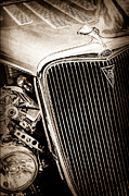 Classic Hot Rods Posters - 1934 Ford Deluxe Hot Rod Grille Emblem Poster by Jill Reger