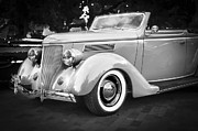Antique Automobiles Framed Prints - 1936 Ford Cabriolet BW  Framed Print by Rich Franco
