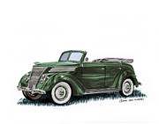 Fenders Painting Originals - 1937 Ford 4 door convertible by Jack Pumphrey