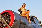Aviator Posters - 1940s Style Aviator Pin-up Girl Posing Poster by Christian Kieffer