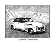 Classic Car Art Drawings - 1941 Series 62 Cadillac sedan by Jack Pumphrey