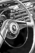 Steering Framed Prints - 1942 Lincoln Continental Cabriolet Steering Wheel Emblem Framed Print by Jill Reger