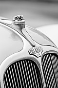 Collector Hood Ornament Posters - 1947 Delahaye 135 MS Langenthal Coupe Hood Ornament and Emblem Poster by Jill Reger