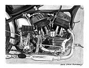 Single Drawings - 1948 Harley Davidson WLA by Jack Pumphrey
