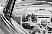 Steering Framed Prints - 1954 Chevrolet Belair Steering Wheel Emblem Framed Print by Jill Reger