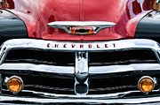 Chevy Pickup Truck Framed Prints - 1955 Chevrolet 3100 Pickup Truck Grille Emblem Framed Print by Jill Reger