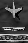 Collector Hood Ornament Posters - 1955 Chevrolet Belair Nomad Hood Ornament Poster by Jill Reger