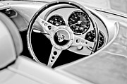 Black And White Photographs Metal Prints - 1955 Porsche Spyder Replica Steering Wheel Emblem Metal Print by Jill Reger