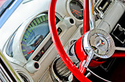 Thunderbird Photos - 1956 Ford Thunderbird Steering Wheel by Jill Reger