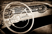 Wheel Posters - 1956 Oldsmobile Starfire 98 Steering Wheel and Dashboard Poster by Jill Reger