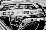 Black And White Photos Photos - 1958 Chevrolet Impala Steering Wheel by Jill Reger