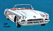 Motors Mixed Media Framed Prints - 1958 Corvette Framed Print by Walter Colvin