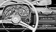 Steering Framed Prints - 1959 Mercedes-Benz 190 SL Steering Wheel Framed Print by Jill Reger