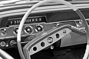 Steering Framed Prints - 1961 Chevrolet Impala SS Steering Wheel Emblem Framed Print by Jill Reger