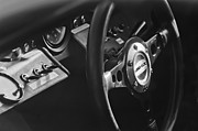 Steering Framed Prints - 1965 Ford GT 40 Steering Wheel Emblem Framed Print by Jill Reger