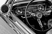 Black And White Photographs Framed Prints - 1965 Shelby prototype Ford Mustang Steering Wheel Framed Print by Jill Reger
