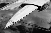 Car Photographs Framed Prints - 1966 Chevrolet Corvette Hood Emblem Framed Print by Jill Reger