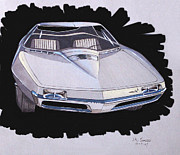 Chrysler Styling Framed Prints - 1967 BARRACUDA  Plymouth vintage styling design concept rendering sketch Framed Print by John Samsen