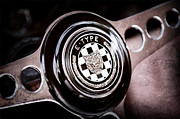 Wheel Posters - 1967 Jaguar E-Type Series I 4.2 Roadster Steering Wheel Emblem Poster by Jill Reger