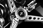 Black And White Photographs Art - 1969 Ford Mustang Mach 1 Steering Wheel by Jill Reger