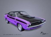 Plum Digital Art - 1970 CHALLENGER T-A  muscle car sketch rendering by John Samsen