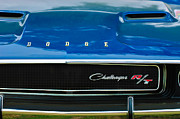 Muscle Cars Framed Prints - 1970 Dodge Challenger RT Convertible Grille Emblem Framed Print by Jill Reger
