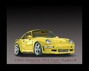 Drive In Painting Framed Prints - 1997 Porsche  993 Twin Turbo Framed Print by Jack Pumphrey