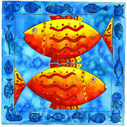 Sealife Art Drawings Posters - 2 Fish Square Poster by Julie Nicholls
