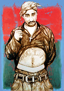 Worldwide Art Prints - 2pac Tupac Shakur - stylised drawing art poster Print by Kim Wang