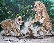 Growling Painting Prints - 367  My Domain Print by Sigrid Tune